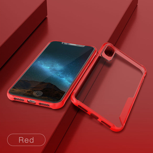 Shockproof Fitted Ultra thin Clear Soft TPU + PC Back Cover For iPhone-Dee SuSu-Red-For iphone X-Dee SuSu