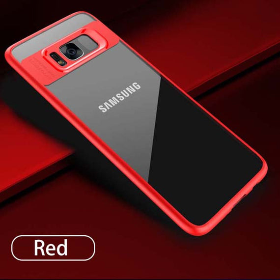 Fitted Slim Transparent Silicone Shockproof Armor Cases For Samsung-Dee SuSu-Red-For Samsung S8-Dee SuSu