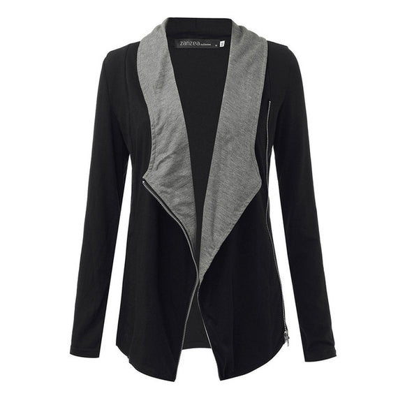 Side Zipper Casual Jacket-Dee SuSu-GrayBlack-S-Dee SuSu