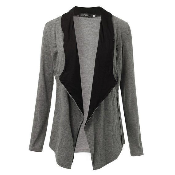 Side Zipper Casual Jacket-Dee SuSu-BlackGray-S-Dee SuSu