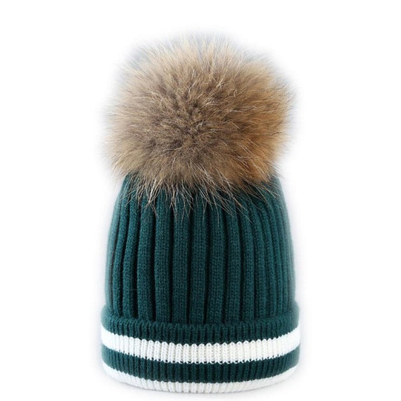 Fur Pompom Beanie-hat-Dee SuSu-Green-China-One Size-Dee SuSu
