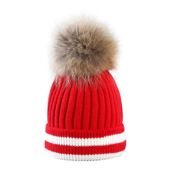 Fur Pompom Beanie-hat-Dee SuSu-Red-China-One Size-Dee SuSu