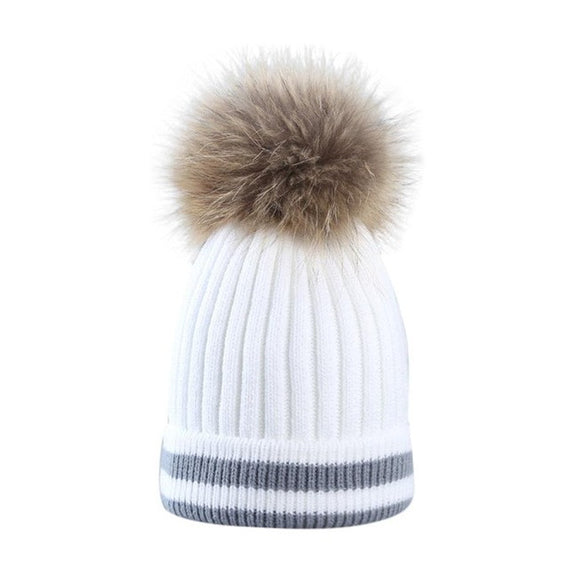 Fur Pompom Beanie-hat-Dee SuSu-White-China-One Size-Dee SuSu