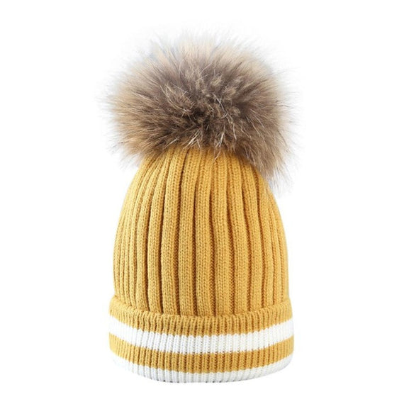 Fur Pompom Beanie-hat-Dee SuSu-Yellow-China-One Size-Dee SuSu