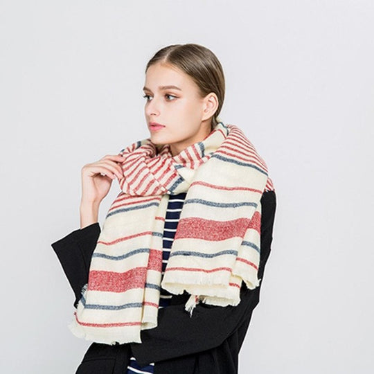Plaid Striped Scarf-Dee SuSu-Red-China-Dee SuSu
