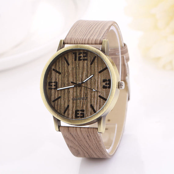 Vintage White Wood Grain Quartz Wristwatch-Dee SuSu-Khaki-D-Dee SuSu