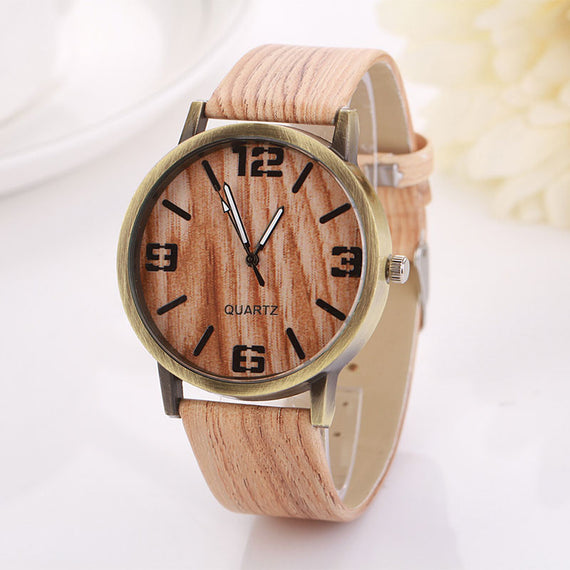 Vintage White Wood Grain Quartz Wristwatch-Dee SuSu-Khaki-F-Dee SuSu