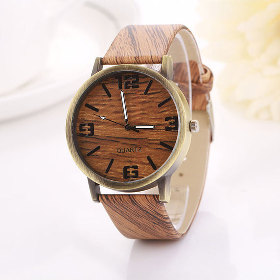Vintage White Wood Grain Quartz Wristwatch-Dee SuSu-Khaki-C-Dee SuSu