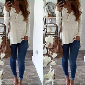Long Sleeve Henley Women-t-shirt-Dee SuSu-Dee SuSu