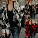 Wool Plaid Open Front Coat