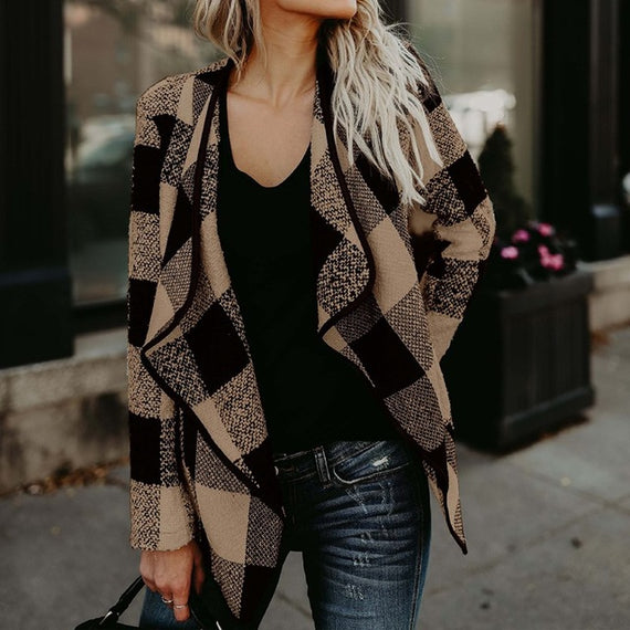 Wool Plaid Open Front Coat-Dee SuSu-Khaki-S-Dee SuSu
