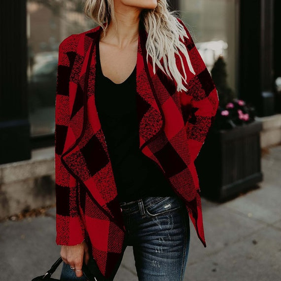 Wool Plaid Open Front Coat-Dee SuSu-Red-S-Dee SuSu