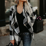Wool Plaid Open Front Coat-Dee SuSu-White-S-Dee SuSu