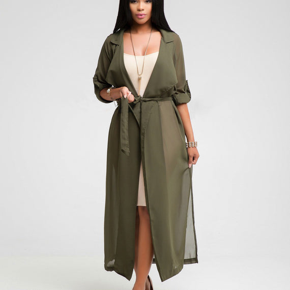 Coat Solid Color Windbreaker Sleeve Top Jacket Chiffon Cardigan-Dee SuSu-Army Green-L-Dee SuSu
