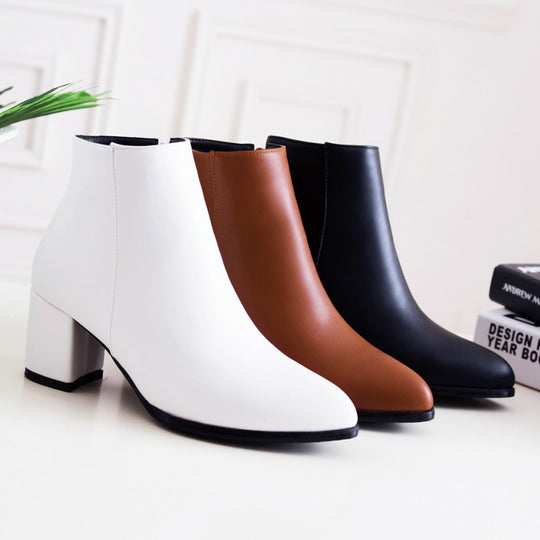 High Square Heel Warm Ankle Boots-Dee SuSu-Dee SuSu