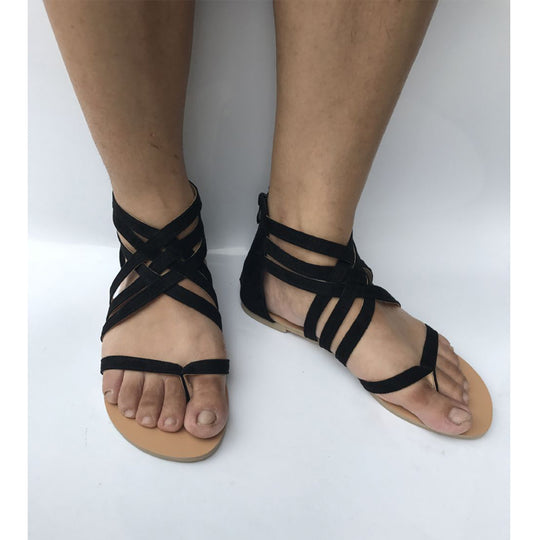 Woven Gladiator Sandals-Dee SuSu-black-5-Dee SuSu
