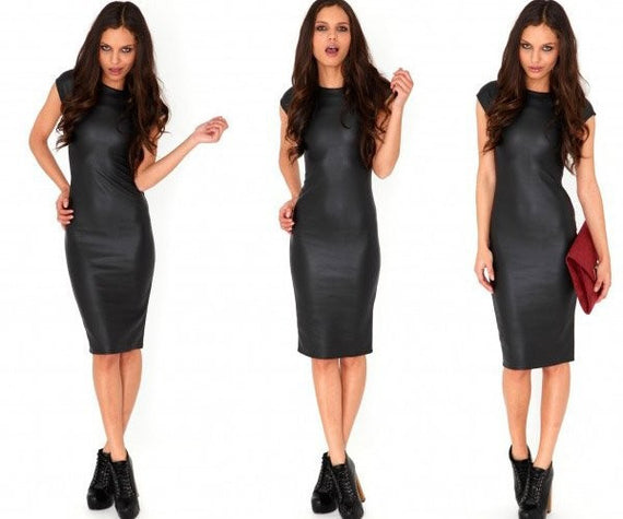 Short-sleeved PU Sexy Bodycon Bandage Midi Dress-Dee SuSu-Black-XXL-Dee SuSu