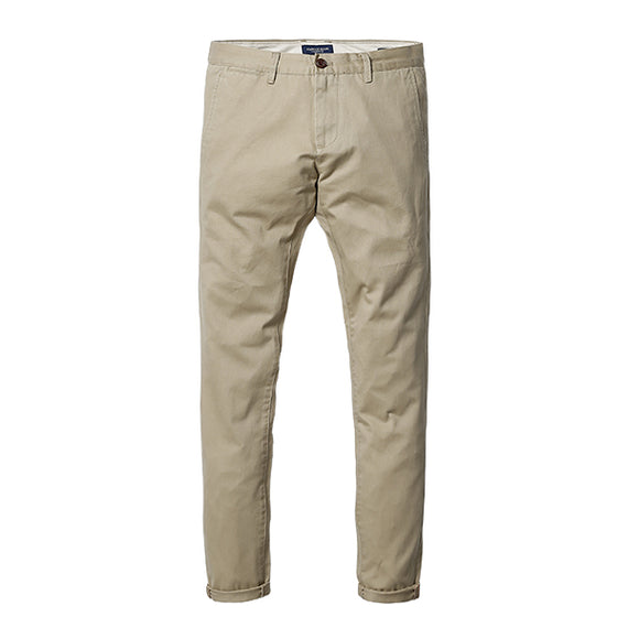 Slim Fit Straight Casual Pants-Dee SuSu-Light Khaki 3rd-28-Dee SuSu