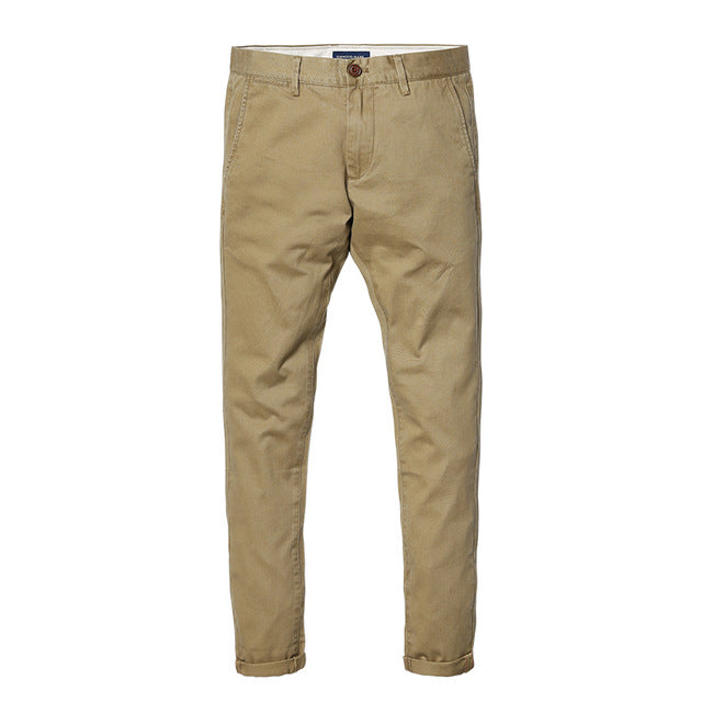 Slim Fit Straight Casual Pants-Dee SuSu-Deep Khaki 3rd-28-Dee SuSu