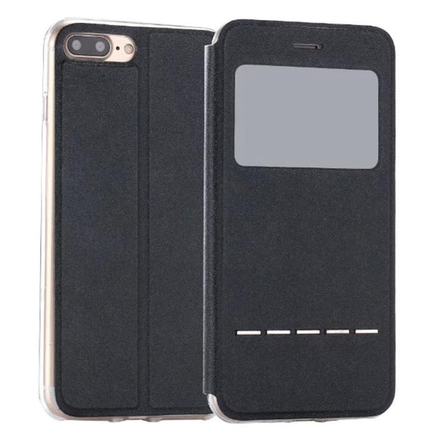 Flip Leather Case Cover with Smart Window Metal Sliding For iPhone-Dee SuSu-Black-China-Dee SuSu