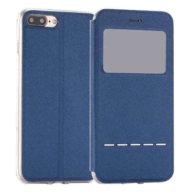 Flip Leather Case Cover with Smart Window Metal Sliding For iPhone-Dee SuSu-Blue-China-Dee SuSu