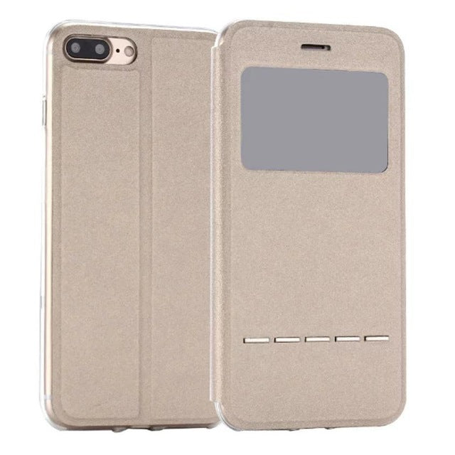 Flip Leather Case Cover with Smart Window Metal Sliding For iPhone-Dee SuSu-Gold-China-Dee SuSu