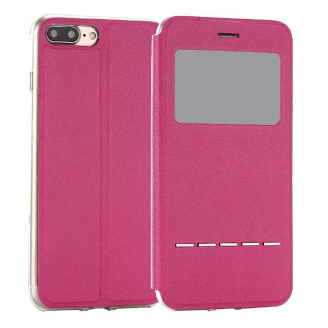 Flip Leather Case Cover with Smart Window Metal Sliding For iPhone-Dee SuSu-Hot Pink-China-Dee SuSu