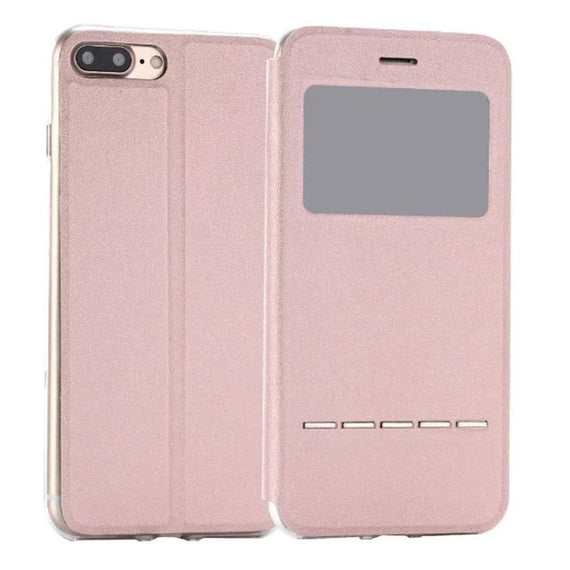 Flip Leather Case Cover with Smart Window Metal Sliding For iPhone-Dee SuSu-Pink-China-Dee SuSu