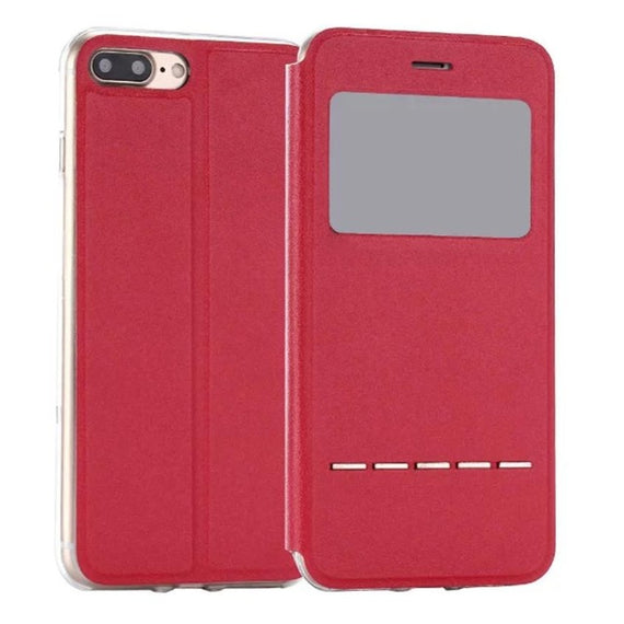 Flip Leather Case Cover with Smart Window Metal Sliding For iPhone-Dee SuSu-Red-China-Dee SuSu