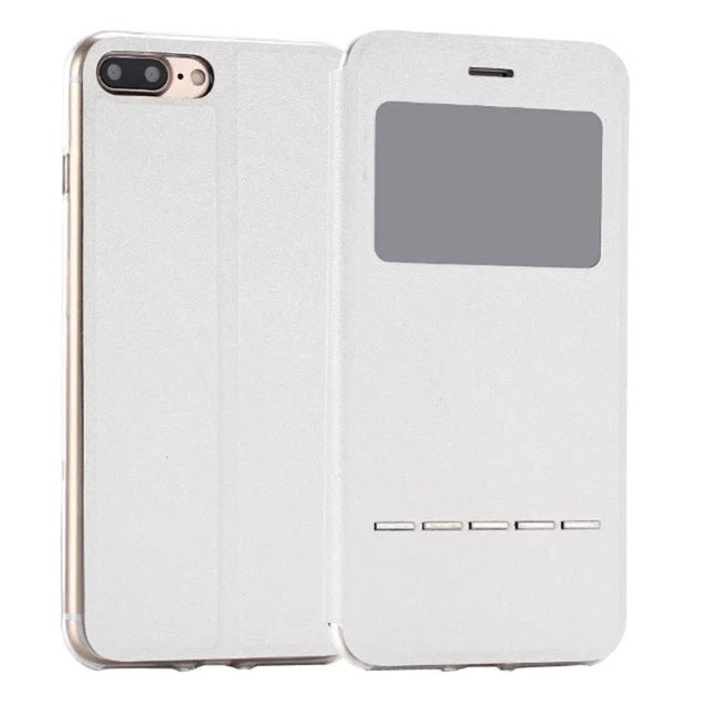 Flip Leather Case Cover with Smart Window Metal Sliding For iPhone-Dee SuSu-White-China-Dee SuSu