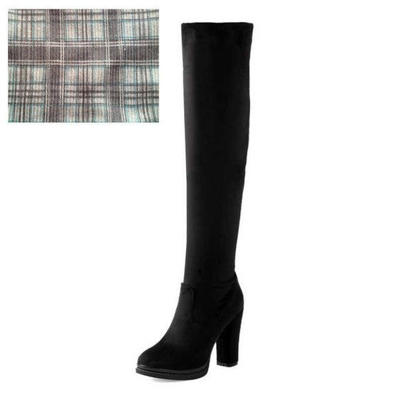 Winter Over Knee High Heel Boots-Dee SuSu-Black cloth lining-4-Dee SuSu