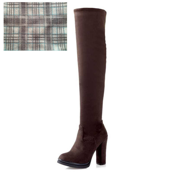Winter Over Knee High Heel Boots-Dee SuSu-Brown cloth lining-4-Dee SuSu