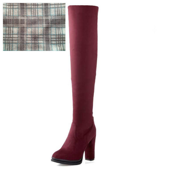 Winter Over Knee High Heel Boots-Dee SuSu-Red cloth lining-4-Dee SuSu