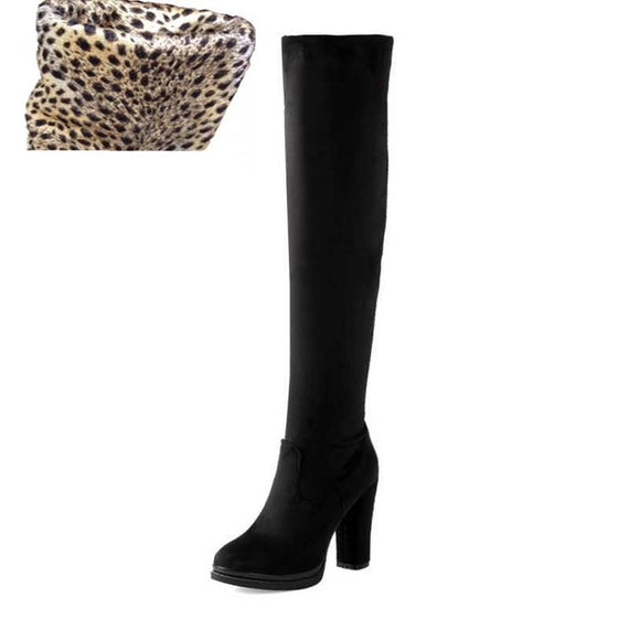 Winter Over Knee High Heel Boots-Dee SuSu-Black velvet lining-4-Dee SuSu