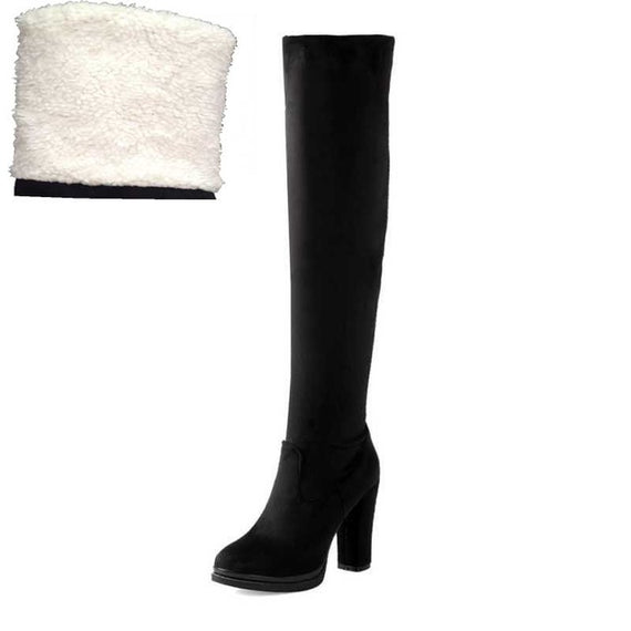 Winter Over Knee High Heel Boots-Dee SuSu-Black fur lining-4-Dee SuSu