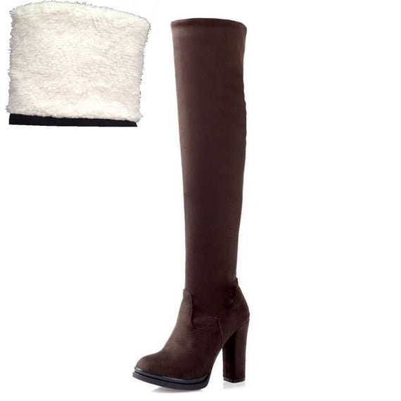Winter Over Knee High Heel Boots-Dee SuSu-Brown fur lining-4-Dee SuSu