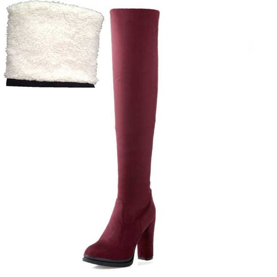 Winter Over Knee High Heel Boots-Dee SuSu-Red fur lining-4-Dee SuSu