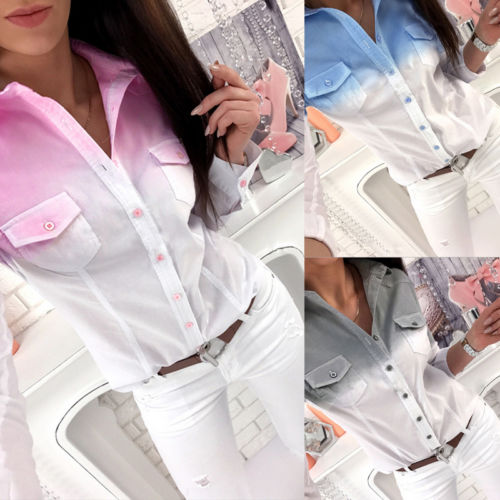 Casual Loose Long Sleeve Pocket Blouse Shirt
