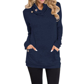 Cowl Neck Button Slim Long Sleeve Pockets Blouse-Dee SuSu-Blue-S-Dee SuSu