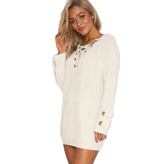 V-Neck Knitted Lace up Sweater/Jumper-Dee SuSu-Dee SuSu