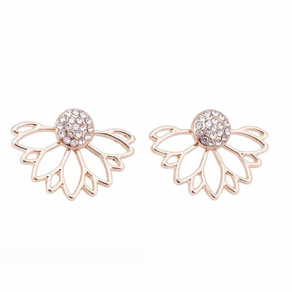 Lotus Crystal Jacket Flower Stud Double Sided Gold Silver Plated Earrings-Dee SuSu-Gold-color-Dee SuSu