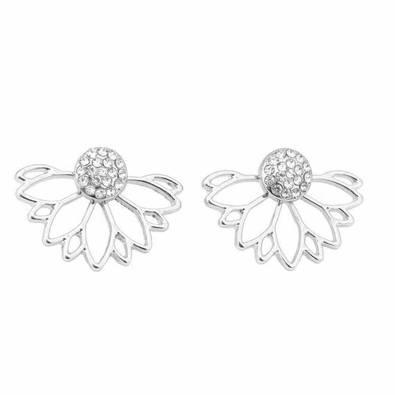 Lotus Crystal Jacket Flower Stud Double Sided Gold Silver Plated Earrings-Dee SuSu-Silver Plated-Dee SuSu