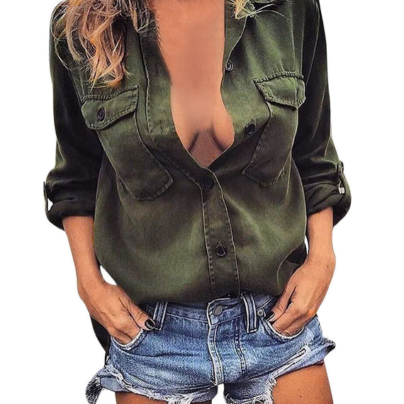 V-neck Long Sleeve Casual Loose T-shirt Blouse