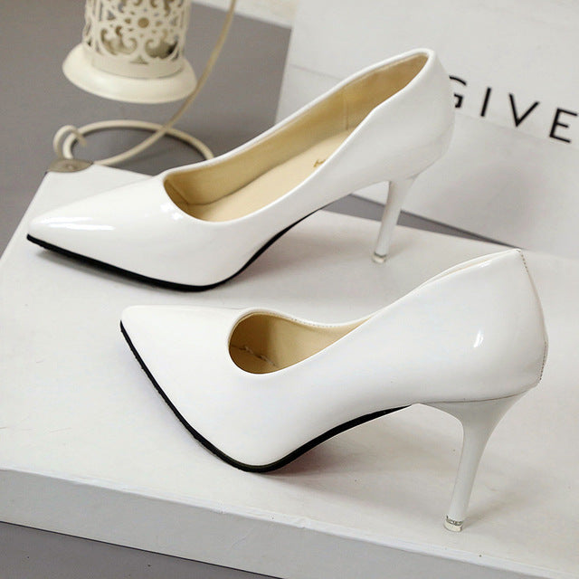 New Fashion thin classic high heels pumps-Dee SuSu-White 7CM-4.5-Dee SuSu