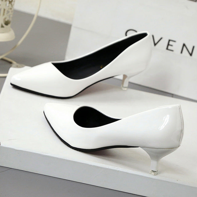 New Fashion thin classic high heels pumps-Dee SuSu-White 4CM-4.5-Dee SuSu