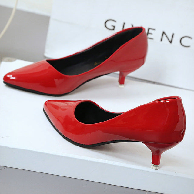 New Fashion thin classic high heels pumps-Dee SuSu-Red 4CM-4.5-Dee SuSu