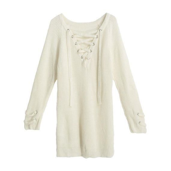 V-Neck Knitted Lace up Sweater/Jumper-Dee SuSu-Beige-L-China-Dee SuSu
