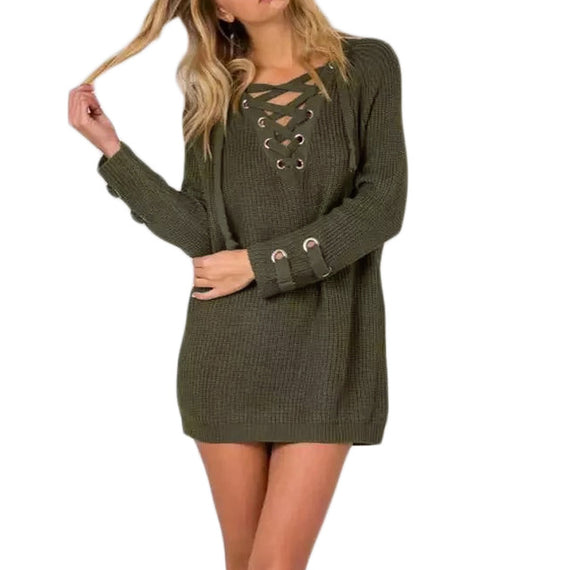 V-Neck Knitted Lace up Sweater/Jumper-Dee SuSu-Green-L-China-Dee SuSu