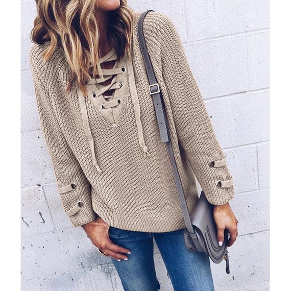 V-Neck Knitted Lace up Sweater/Jumper-Dee SuSu-Khaki-L-China-Dee SuSu