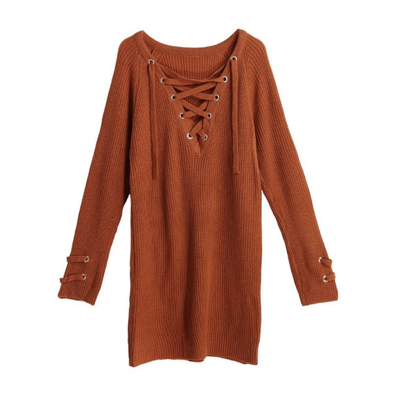 V-Neck Knitted Lace up Sweater/Jumper-Dee SuSu-Orange-L-China-Dee SuSu